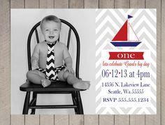 First bday pics Nautical Sail Boat Chevron First Birthday Boy Navy Red Photo Digital Printable Birthday Invitation Baby Boy First Birthday, Man Birthday, First Birthday Parties, First Birthdays, Birthday Ideas, Baby Boy Invitations, Nautical Invitations, Printable Birthday Invitations, Nautical Party