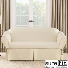 overstock this natural cream loveseat cushion from sure fit creates a clean foundation that