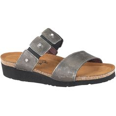 Naot Women's Ashley, Style #: 4906-195 in Metal | All new Ashley by Naot is your oasis of comfort and effortless style for home or casual outings. Featuring Twin leather straps with rhinestones dotting adding extra sparkle. Adjustable instep strap invite your toes to slide in and enjoy the soft comfort offered with the suede clad Women's Elegant Footbed.  | Naot shoes are available at www.TheShoeMart.com #TheShoeMart.