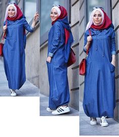 Image may contain: 3 people Abaya Style, Hijab Style Dress, Hijab Chic, Hijab Outfit, Islamic Fashion, Muslim Fashion, Modest Fashion, Modele Hijab, Hijab Trends