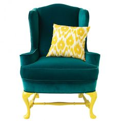 Wake up a tired piece of furniture by giving the legs a glossy enamel finish. We updated a classic wing chair with sunny yellow oil paint.