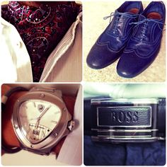 Top Left: A gorgeous silk cravat from the Cravat Club with a pale blue Ted Baker shirt.  Top Right: Electric blue Paul Smith brogues.  Bottom Left: Woven metal Armani bracelet and a hefty Lamborghini watch.  Bottom Right: Hugo Boss belt.
