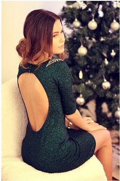 shining green dress for winter holiday!