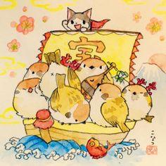 こなつ @konatsu_tunacan    あけましておめでとうございます。船からあふれんばかりの七福良雀が新年をお祝いします。