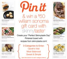 PIN IT AND WIN IT!  To see all the rules, visit this tab on my Facebook page to read all the details! Contest ends 4/23 #giveaway https://www.facebook.com/GinasSkinnytaste/app_190322544333196