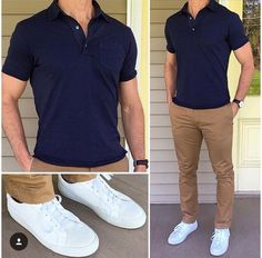 New Ideas Moda Masculina Casual Fashion Simple Polo Shirt Outfits, Polo Outfit, Man Outfit, Chinos Men Outfit, Khaki Pants Outfit, Casual Pants, Mode Outfits, Casual Outfits, Fashion Outfits