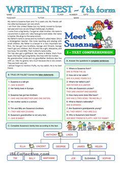 SUSANNAS FAMILY - 3 page TEST - 7th grade