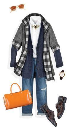 Opta por un abrigo oversized con cuadros en tonos neutros, haciendo capas con una camisa y unos boyfriend jeans. Agrega color a tu outfit con una bolsa súper llamativa.