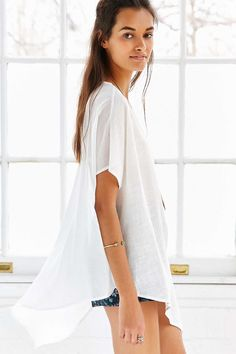 Ecote Woven-Mix Cocoon Tee - Urban Outfitters