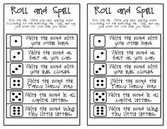 Free!!! Love this! Roll & Spell...could modify to roll & SAY for artic!!!