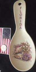 Vintage Florida Souvenir Spoon Rest Florida Keys Sea shells Hard  Plastic