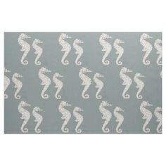 Seahorse Nautical Pattern Fabric from #Ricaso