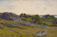 Hugh Bolton Jones (American, 1848-1927) Boulder on a Craggy Shore, early 1890s Oil on canvas, 15 x 23 in.