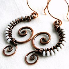 Wire Wrapped Copper, White Glass, Beaded Earrings, Handcrafted Jewelry, Antiqued Copper, Seashell Spiraled Earrings