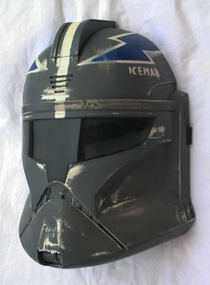 Top Gun themed talking Star Wars Clone Trooper Helmet. I repurposed a Star Wars helmet purchase at Target and mixed the two movies. For an extra touch I gave it some battle damage. #popart #starwars #topgun #repurposed #toy #helmet #voicechange #costume #halloween #iceman
