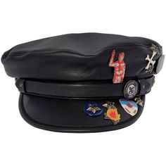 Dsquared2 Men Leather Biker Hat W/ Pins (18 280 UAH) ❤ liked on Polyvore featuring men's fashion, men's accessories, men's hats, black, mens leather hats, mens hats and mens leather accessories