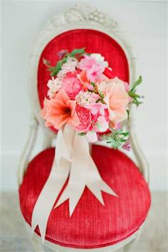 beautiful red + peach bouquet by Myrtie Blue
