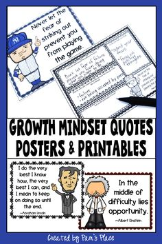 Growth mindset quotes for kids are a perfect way to foster positive thinking in the classroom. Add these posters to a bulletin board for students to see and use the printables to have students think more deeply about the quotes. Use these 20 quotes by famous and successful  people to show different perspectives and support student motivation to achieve. These posters can be used with upper elementary and middle school students. #growthmindset #pamsplace Growth Mindset Activities, Growth Mindset Posters, 5th Grade Classroom, Middle School Classroom, Upper Elementary, Elementary Teaching, Grouping Students, Student Motivation, Reading Lessons