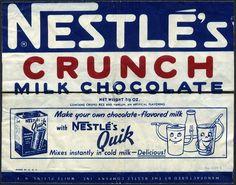 Nestles Crunch - Nestles Quik - candy bar wrapper - 1950s 1960s by JasonLiebig, via Flickr