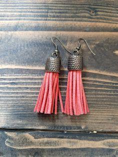 Tangerine leather tassel earrings - brass metal capped tassel earrings - leather tassel jewelry - orange boho dangling tassel earrings