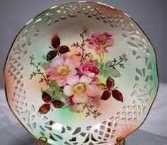 Stunning Shumann Arzberg Hand Painted Reticulated Bowl With Floral Pattern