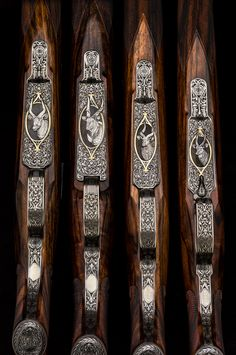 Set of four Westley Richards rifles built on original Oberndorf actions. The calibers are as original actions were made for. .250-3000 on kurtz, .275 on intermediate, .318 on standard and .404 on magnum. Engraving by the late Shaun Banks.