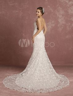 Lace Wedding Dress Ivory Cathedral Train Bridal Gown Mermaid Spaghetti Straps V Neck Backless Bridal Dress
