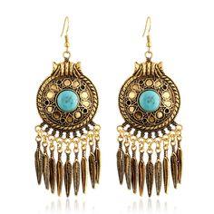 2017 New Elegant Bohemian Vintage Feather Leaves Tassel Earring Indian Style Tibetan Drop Earring for Women
