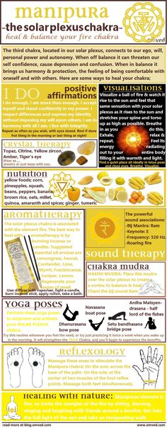 10 ways to Heal & Balance your chakras - There are many ways one can begin to balance their SOLAR PLEXUS CHAKRA. Here are several useful methods, including aromatherapy, visualisations, affirmations, mudra, yoga poses, nutrition, reflexology color, nature and sound therapy! ~☆~