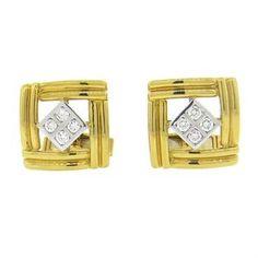 Diamond and Gold Cufflinks | Oak Gem
