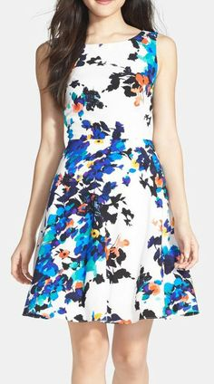 Betsey Johnson Floral Print Fit Flare Dress