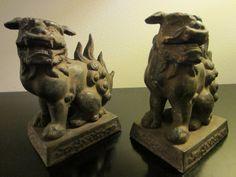 Bronze Foo Dogs Lion Statutes Bookends by designeruniquefinds