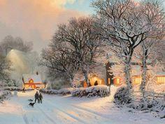 Thomas Kinkade Sacramento - 2015 California-American)~ Christmas vilage in winter Winter Wallpaper Hd, Love Wallpaper, Nature Wallpaper, Wallpaper Backgrounds, Laptop Backgrounds, Painting Wallpaper, Winter Backgrounds, Wallpaper Desktop, Painting Snow