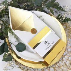 Złote zaproszenia ślubne, kolekcja Glamour Gold. Retro, Mid Century