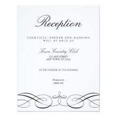 Elegant Black White Wedding Reception Card - wedding invitations diy cyo special idea personalize card