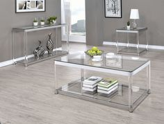 Contemporary Clear Glass Acrylic Rectangle 3pc Coffee Table Set