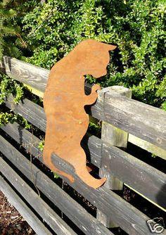 Katze Rost Edelrost Topfhänger Garten Dekoration Metall 55cm