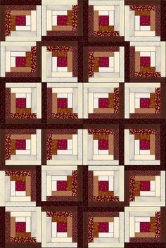 Russet Mahogany Cherry PreCut LogCabin Fabric Quilt Kit – Quilt Kit Star Log Cabin Quilt