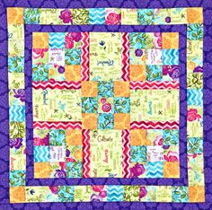 Sew a bright and whimsical table topper using an assortment of floral prints and bright borders. A carefully arranged pink zigzag print highlights the Nine-Patch blocks. Bright Quilts, Small Quilts, Mini Quilts, Baby Quilts, Quilted Table Toppers, Quilted Table Runners, Skinny Quilts, Nine Patch Quilt, Quilt Patterns Free