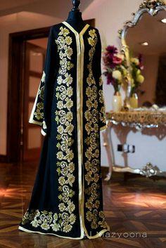 Old Fashioned Clothes : Al Mazyoona Black Gold Silk Embroidered Abaya Dubai Arabic Jalabiya Khaleeji Kaf. Al Mazyoona Black Gold Silk Embroidered Abaya Muslim Women Fashion, Islamic Fashion, Abaya Fashion, Fashion Dresses, Morrocan Dress, Abaya Designs, Modest Wear, Hijab Dress, Oriental Fashion