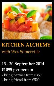 Kitchen Alchemy - more than just learning recipes!  This week brings conscious awareness into the kitchen.  Designed to inspire, challenge and support you in uncovering your inner chef!  OH, and plenty of time for relaxation, a body work session, a coaching session AND daily yoga!