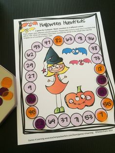 Halloween Hundreds math board game from Halloween Math Games Second Grade by Games 4 Learning for bringing some Halloween fun into the classroom.   This collection of Halloween math games contains 14 printable games. $