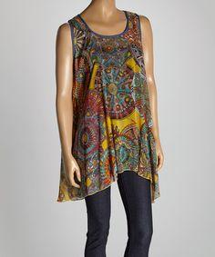 Look at this #zulilyfind! Aqua & Yellow Abstract Silk-Blend Tank - Women by Pretty Angel #zulilyfinds