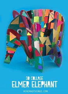 3d Collage, Kindergarten Art, Preschool Crafts, School Art Projects, Craft Projects For Kids, Elmer The Elephants, Arte Van Gogh, Art Classroom, Classroom Art Projects