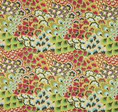 Amy Butler Soul Blossoms Bliss Peacock Bright Pear eclectic upholstery fabric