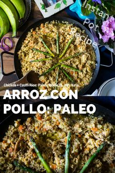 """A Cuban staple is remade into a simple pressure cooker recipe. This anti-inflammatory Instant Pot Arroz Con Pollo (chicken with rice) is a low-carb recipe suitable for AIP, and Keto lifestyles! You won't miss the """"real"""" rice! Paleo Whole 30, Whole 30 Recipes, Real Food Recipes, Chicken Recipes, Turkey Recipes, Dairy Free Keto Recipes, Low Carb Recipes, Diet Recipes, Paleo Meals"""