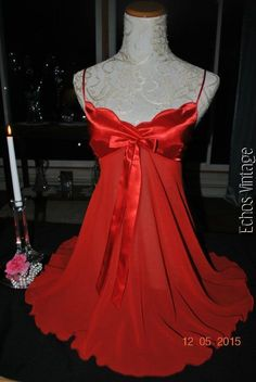 NEW Victoria Secret RED Satin Chiffon Baby Doll Chemise Nightgown S NEW w/o TAGS #VictoriasSecret #Gowns