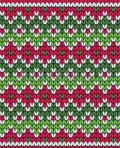 jacquard color rojo y verde Fair Isle Knitting Patterns, Knitting Stiches, Fair Isle Pattern, Knitting Charts, Knitting Designs, Knit Patterns, Baby Knitting, Tejido Fair Isle, Fair Isle Chart