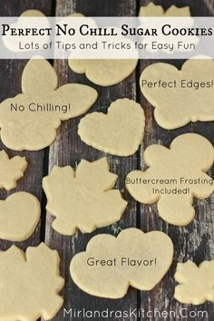 This is the holy grail of roll out sugar cookies! I baked hundreds of cookies to arrive at this recipe! There is no chilling required. The cookies actually taste amazing. The process is easy and kid friendly. The frosting is rich and creamy but still Cookies Decorados, Galletas Cookies, Holiday Cookies, Summer Cookies, Valentine Cookies, Easter Cookies, Birthday Cookies, Shortbread Cookies, Roll Out Sugar Cookies