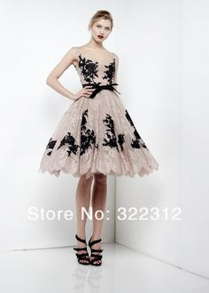Elie Saab 2013 Short Ball Gown Nude Lace Black Beaded Appliques Spaghetti Straps Short Knee Length Party Gown Cocktail Dress $269.99